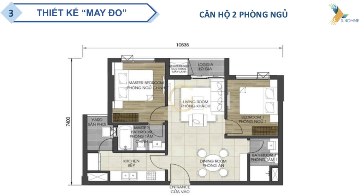 D-HOMME Căn hộ 2 phòng ngủ