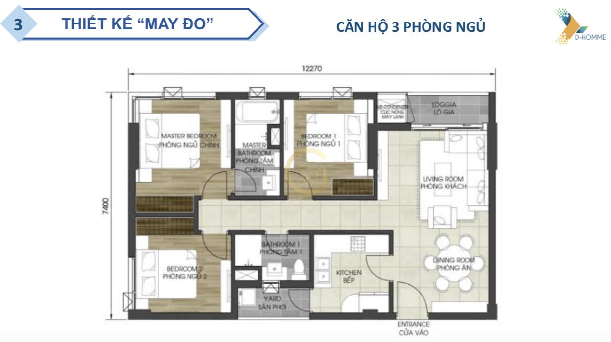 D-HOMME Căn hộ 3 phòng ngủ
