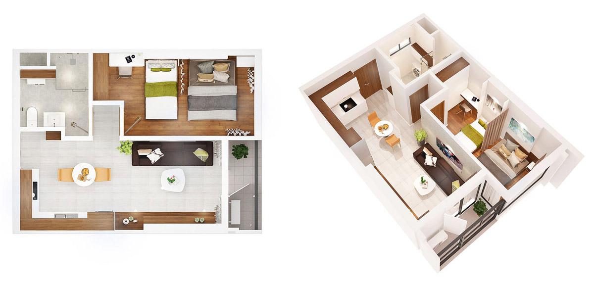 Mặt bằng dự án căn hộ chung cư AIO City 1 phòng ngủ Quận Bình Tân Đường Tên Lửa chủ đầu tư Hoa Lâm
