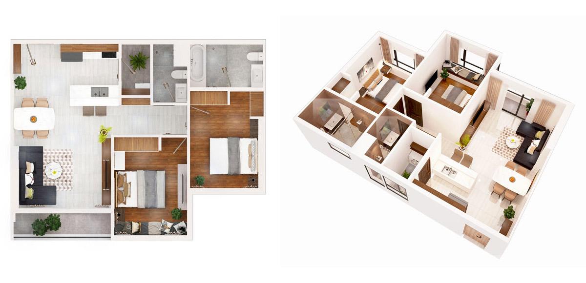 Mặt bằng dự án căn hộ chung cư AIO City 2 phòng ngủ Quận Bình Tân Đường Tên Lửa chủ đầu tư Hoa Lâm