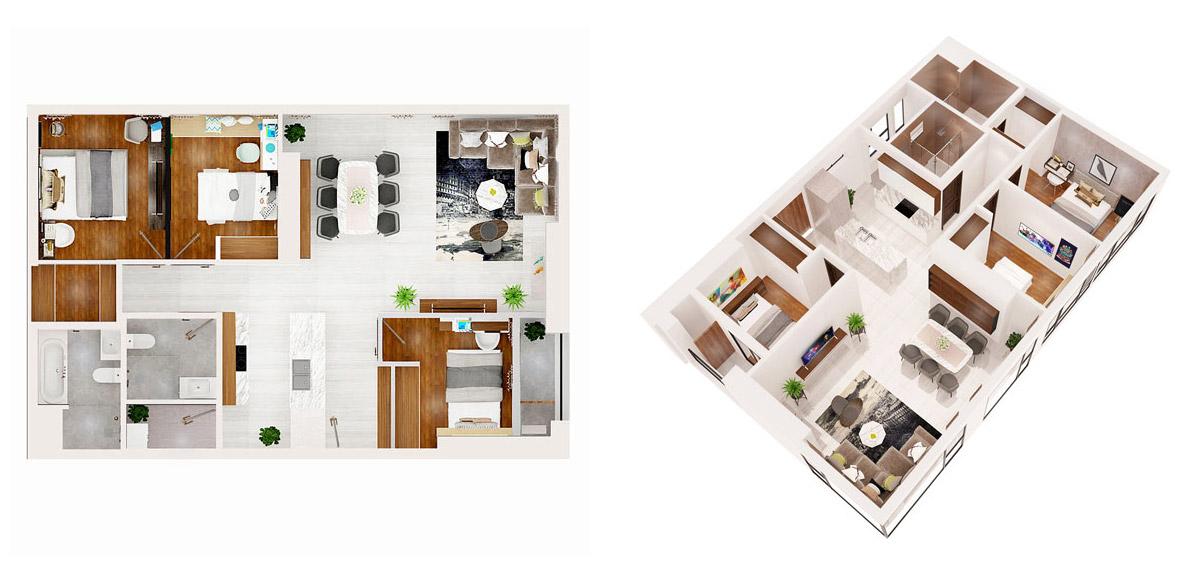 Mặt bằng dự án căn hộ chung cư AIO City 3 phòng ngủ Quận Bình Tân Đường Tên Lửa chủ đầu tư Hoa Lâm