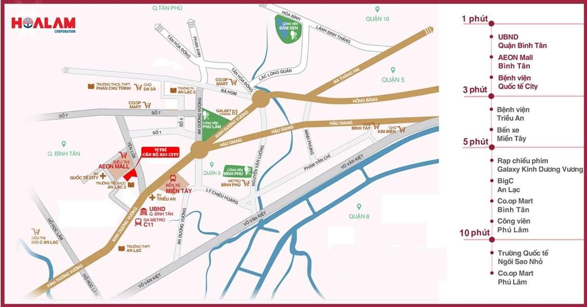 Vị trí địa chỉ dự án căn hộ chung cư AIO City Quận Bình Tân Đường Tên Lửa chủ đầu tư Hoa Lâm