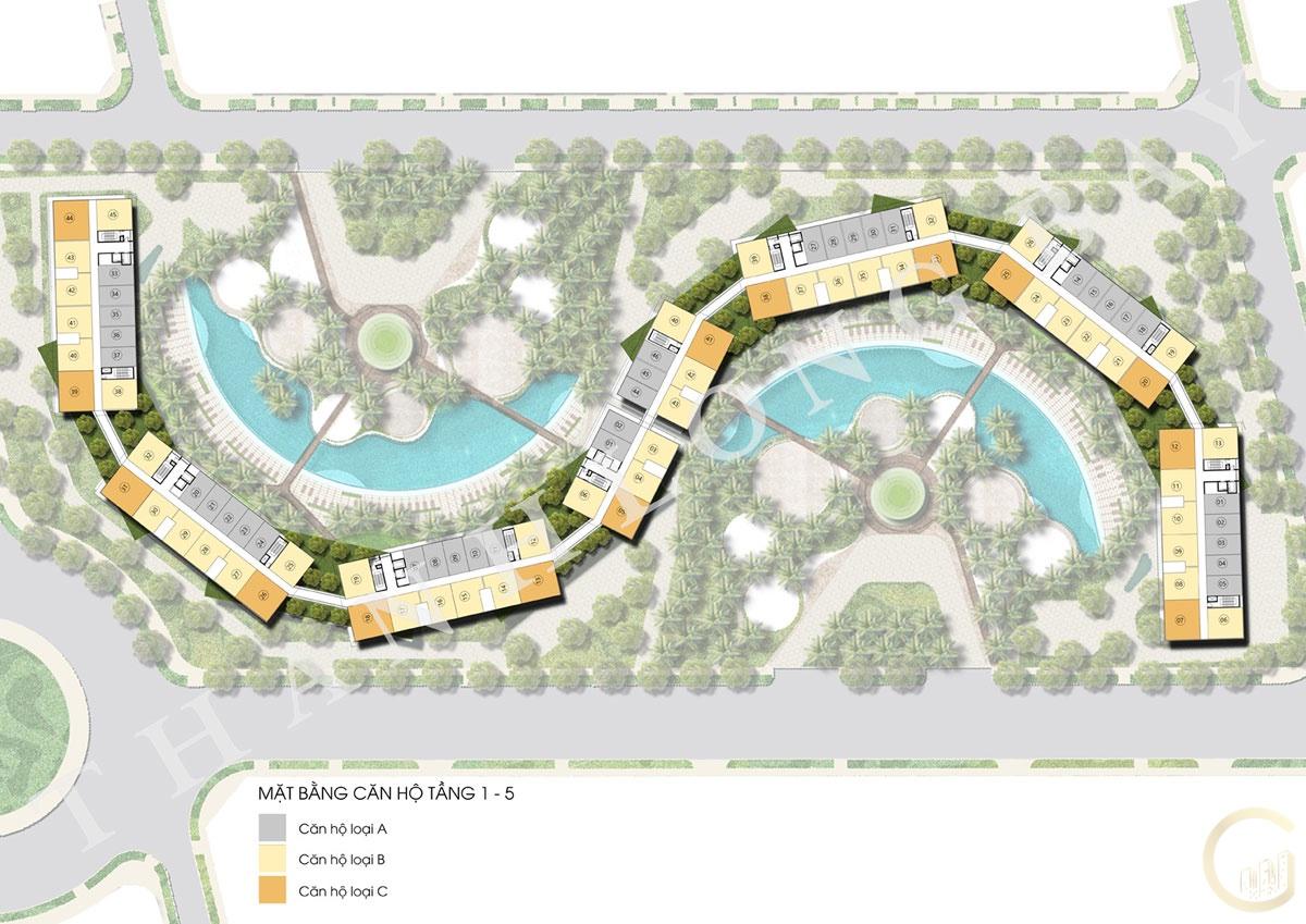 Dự án Thanh Long Bay Mặt bằng tầng 1-5 Block Căn hộ Sky Garden