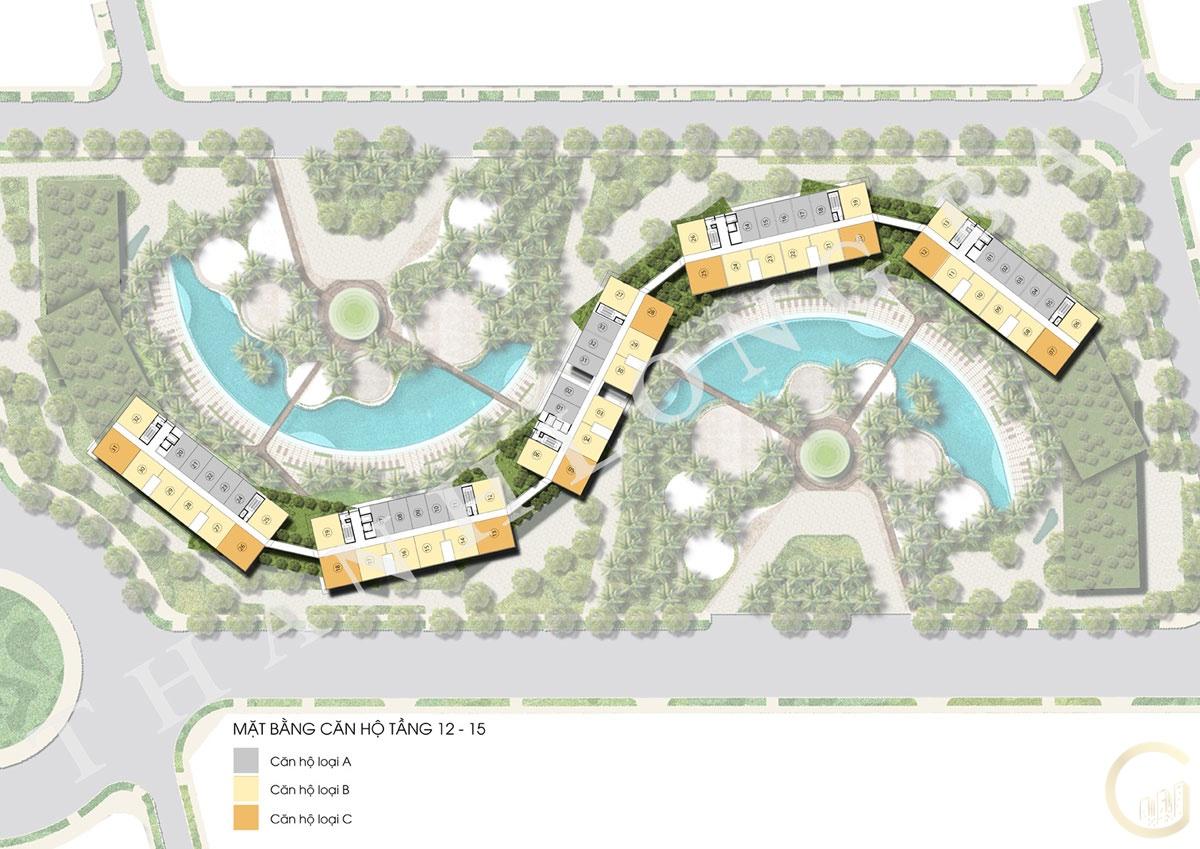 Dự án Thanh Long Bay Mặt bằng tầng 12 - 15 Block Căn hộ Sky Garden