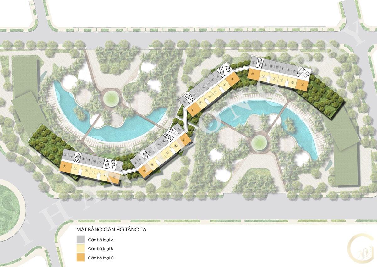 Dự án Thanh Long Bay Mặt bằng tầng 16 Block Căn hộ Sky Garden