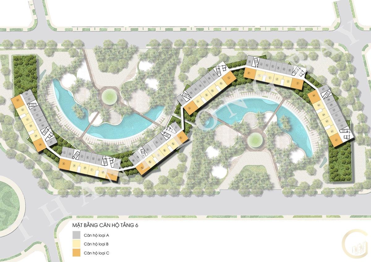 Dự án Thanh Long Bay Mặt bằng tầng 6 Block Căn hộ Sky Garden