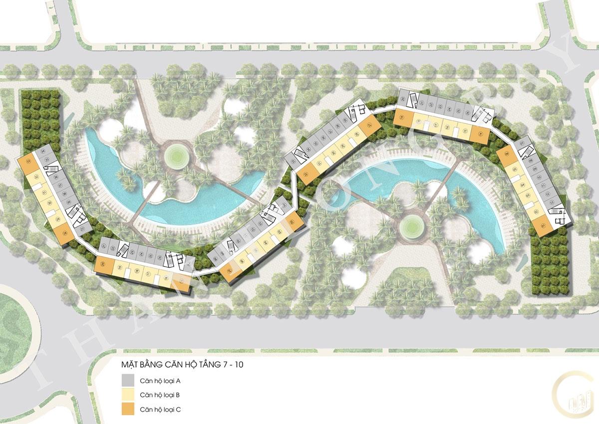 Dự án Thanh Long Bay Mặt bằng tầng 7-10 Block Căn hộ Sky Garden