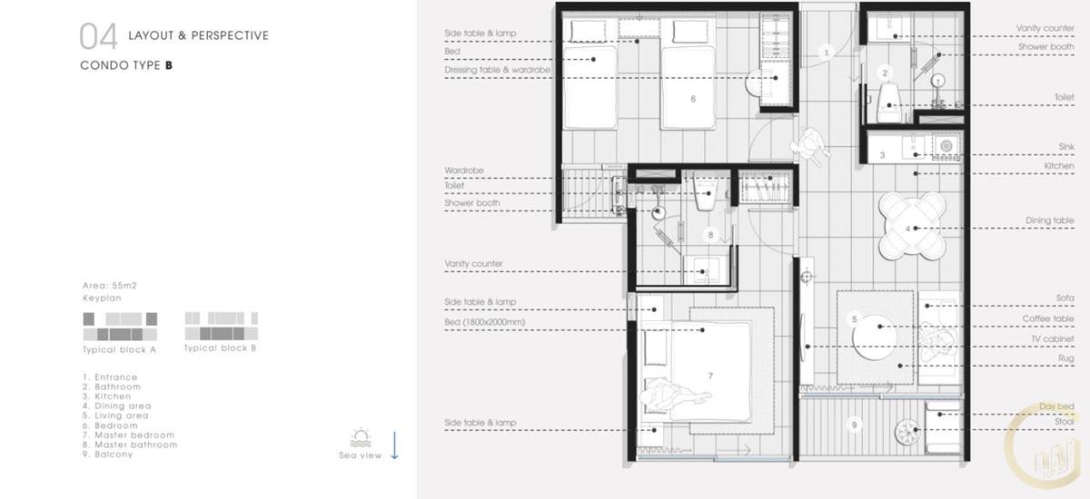 Thiết kế Căn hộ 2 Phòng Ngủ Thanh Long Bay