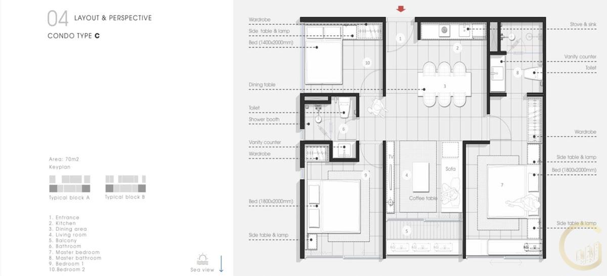 Thiết kế Căn hộ 3 Phòng Ngủ Thanh Long Bay