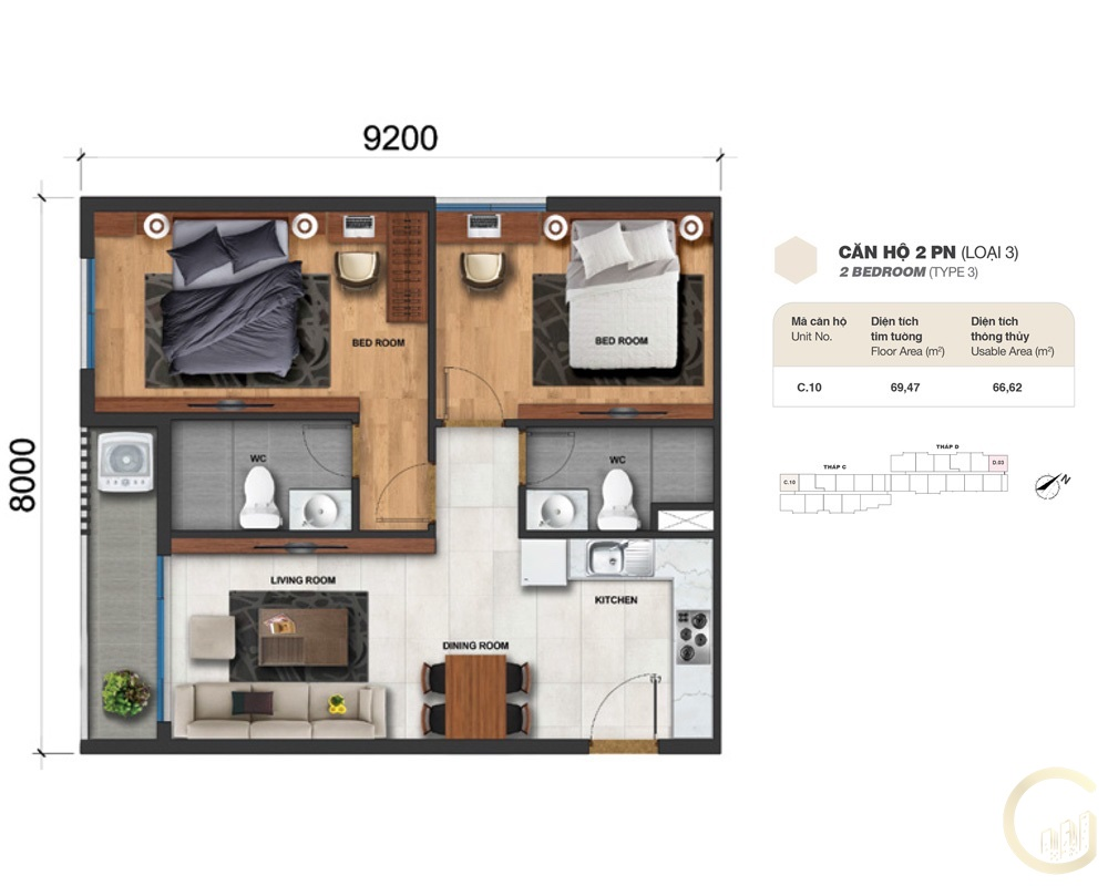 Thiết kế Lovera Vista 2 phòng ngủ loại 3