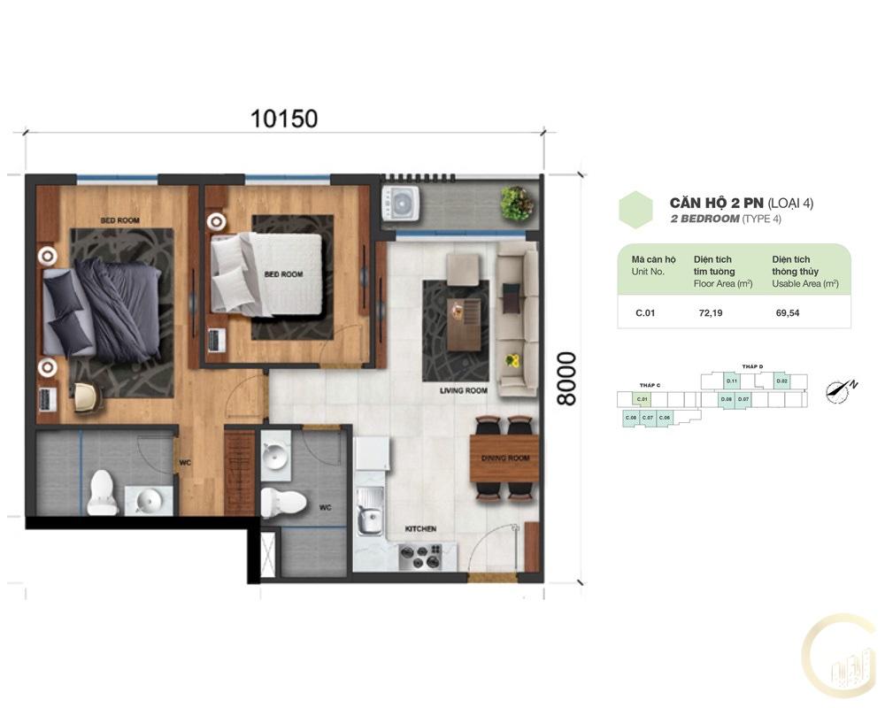 Thiết kế Lovera Vista 2 phòng ngủ loại 4