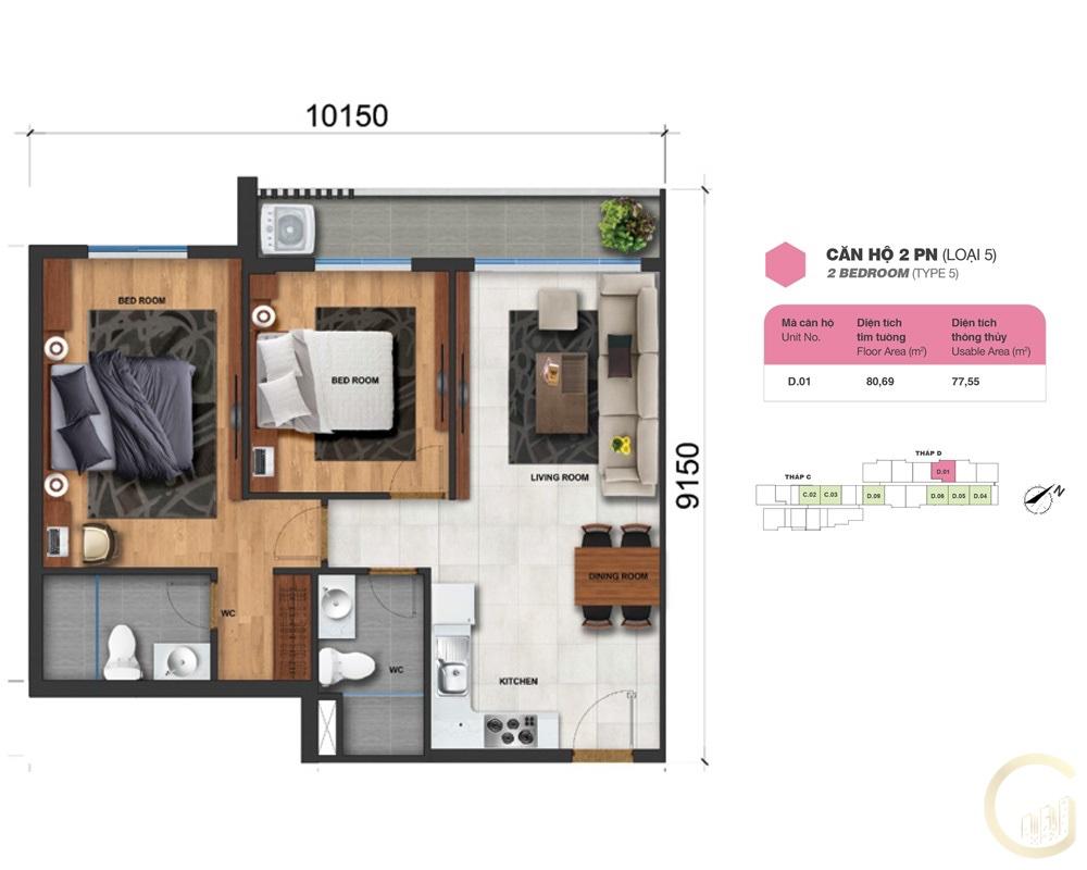 Thiết kế Lovera Vista 2 phòng ngủ loại 5