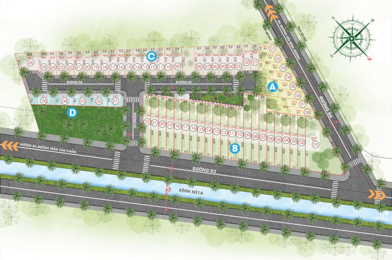 Mặt bằng toàn khu dự án đất nền khu dân cư TVC Củ Chi