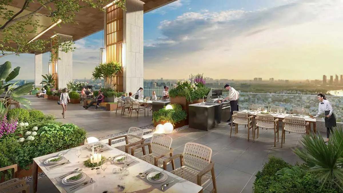 Cà phê tại tầng thượng dự án căn hộ của Danh Khôi Group phát triển tại Đường Nguyễn Văn Tiết Thuận An
